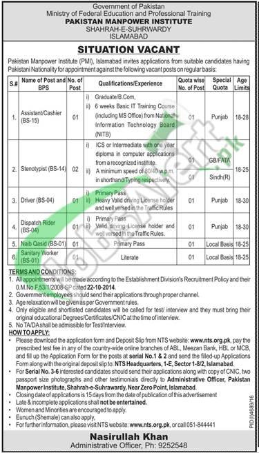 Pakistan Manpower Institute Jobs