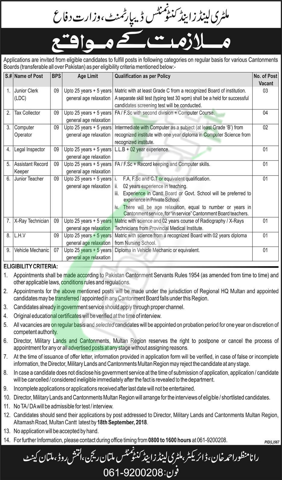 Military Lands & Cantonments Department Jobs