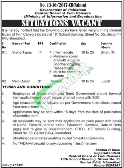Central Film Censor Board Islamabad Jobs