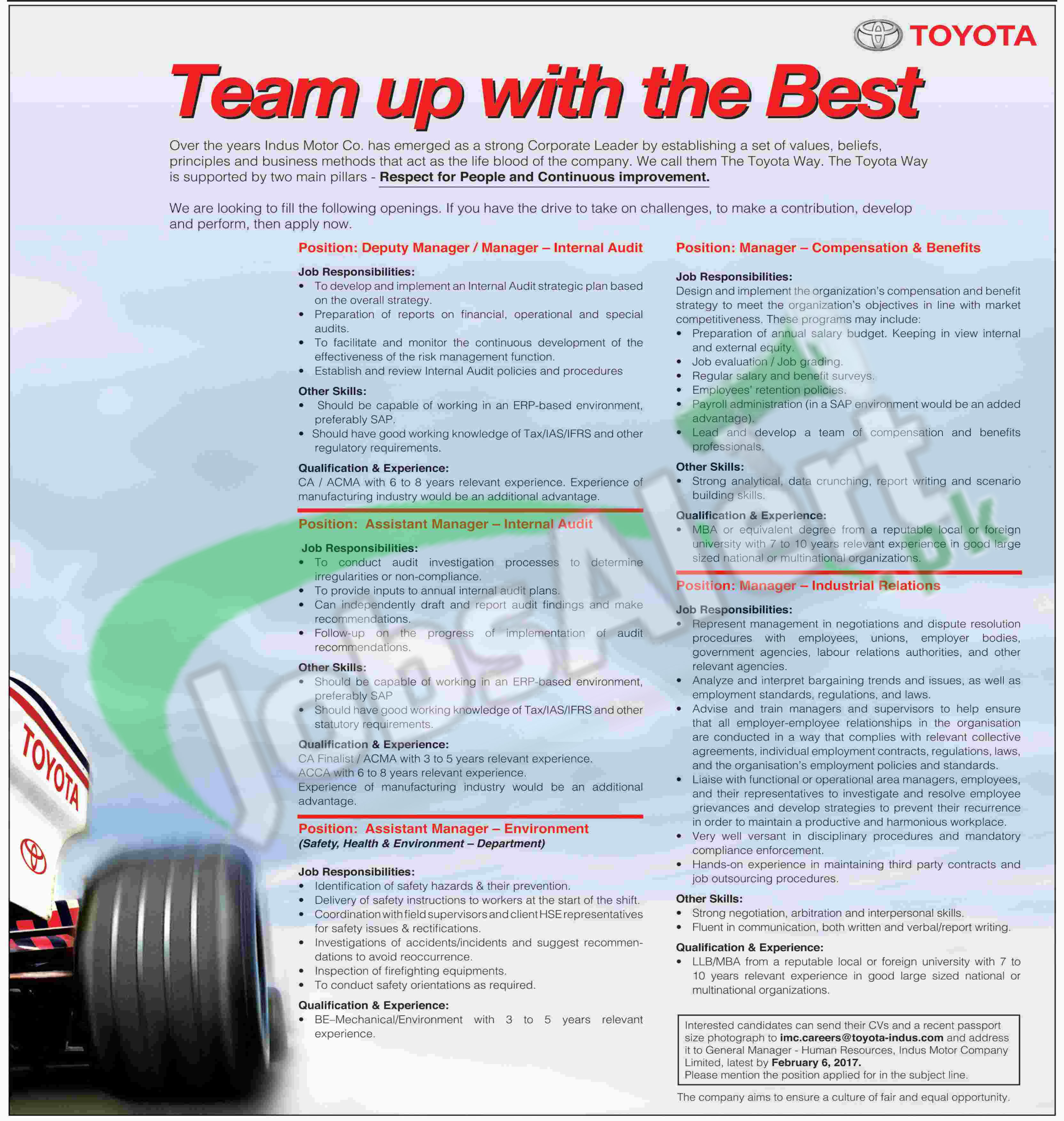 Toyota Motors Jobs In Pakistan 2017 For Assistant Manager