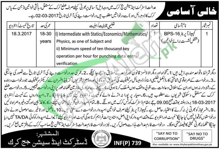 District and Session Court Karak Jobs