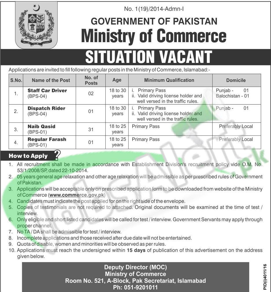 www.commerce.gov.pk application form
