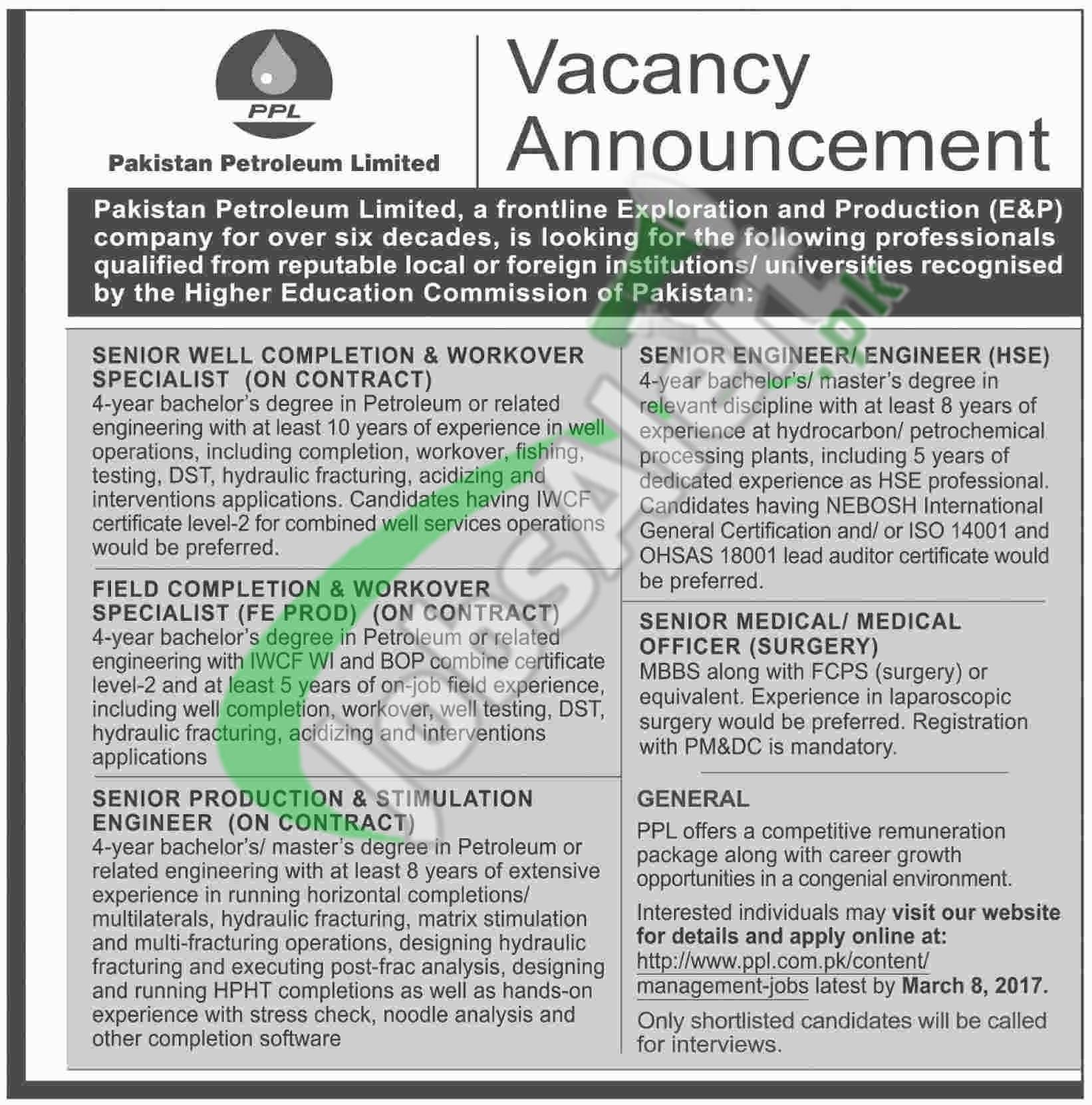 Ppl Jobs Advertisement 2017 March Latest Career Opportunities