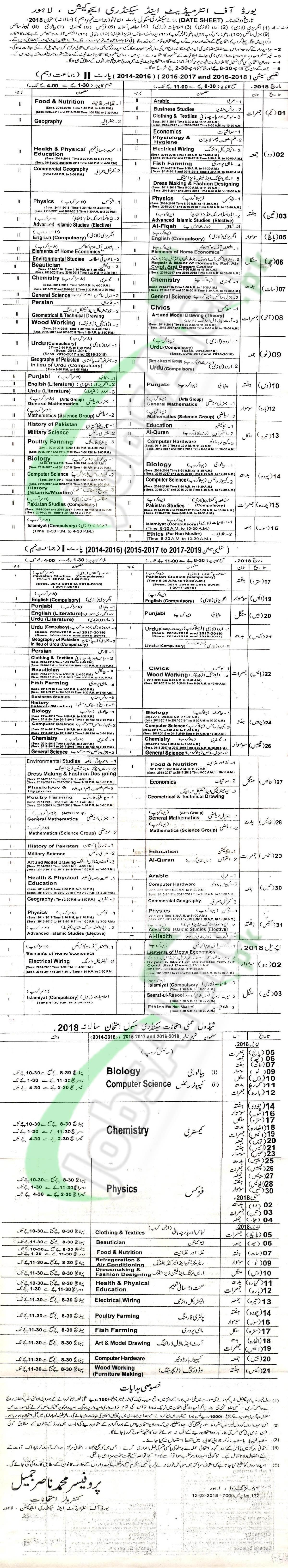 Matric Date Sheet 2020