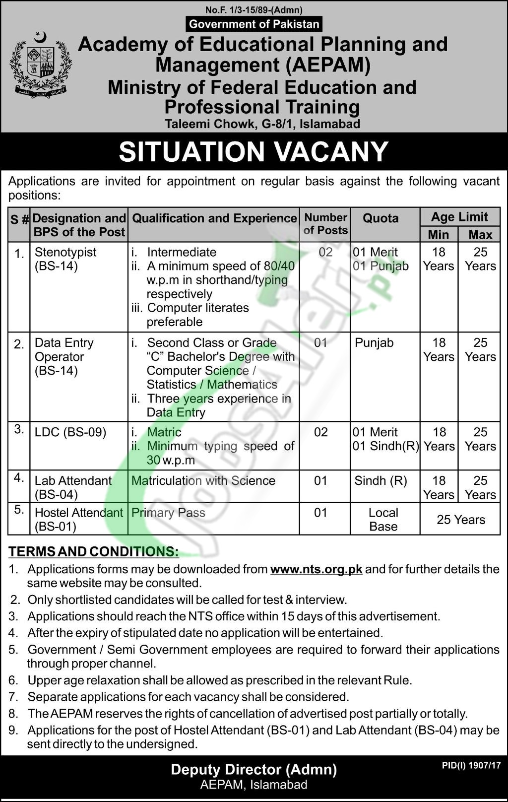 Ministry of Education Islamabad Jobs