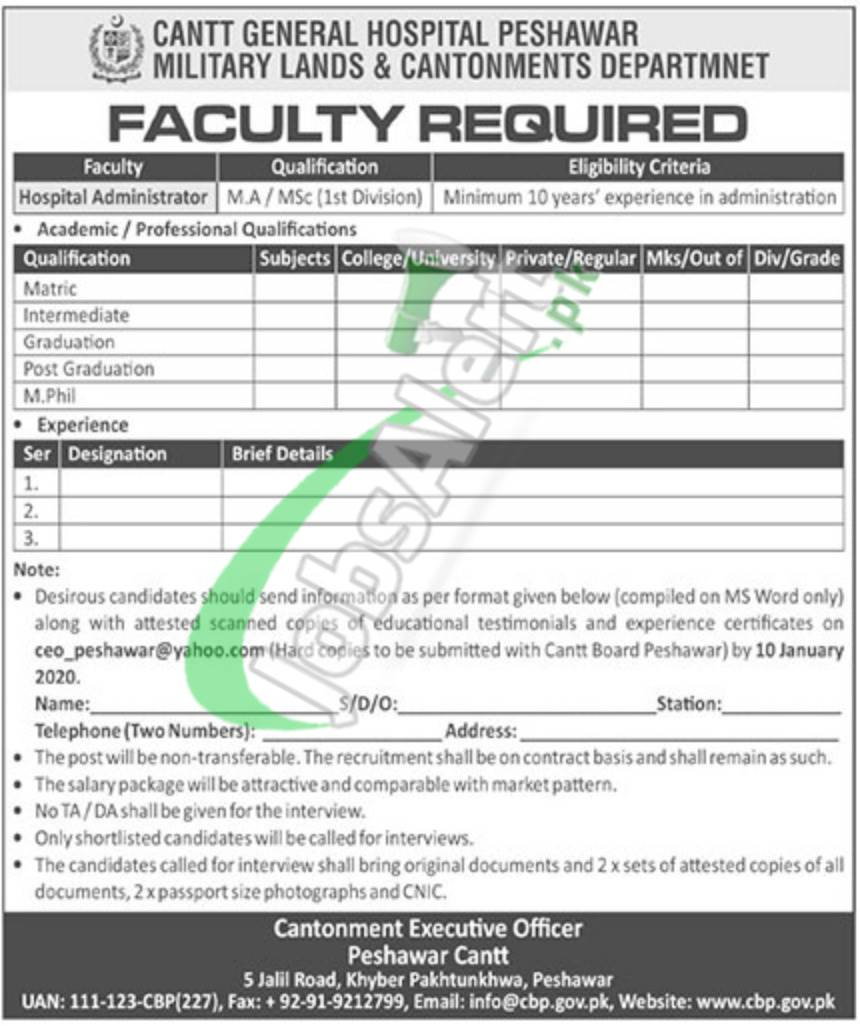 Cantt General Hospital Peshawar Faculty Required