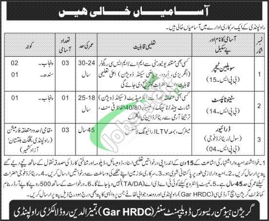 Garrison HRDC Rawalpindi Jobs