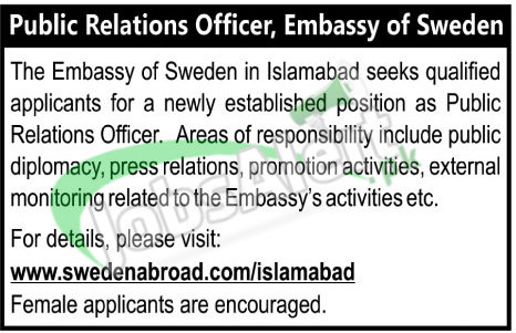 Embassy of Sweden Islamabad Jobs 2017 Online Apply Last Date