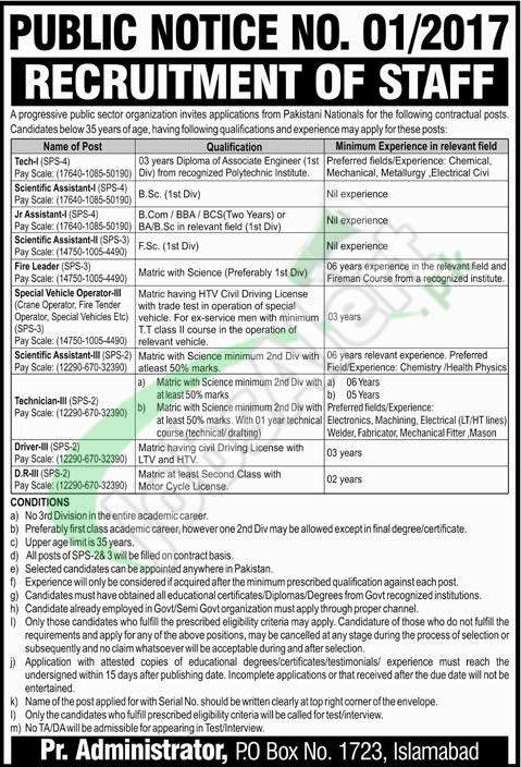 PO Box 1723 Application Form Download 2017 PAEC Latest Advertisement