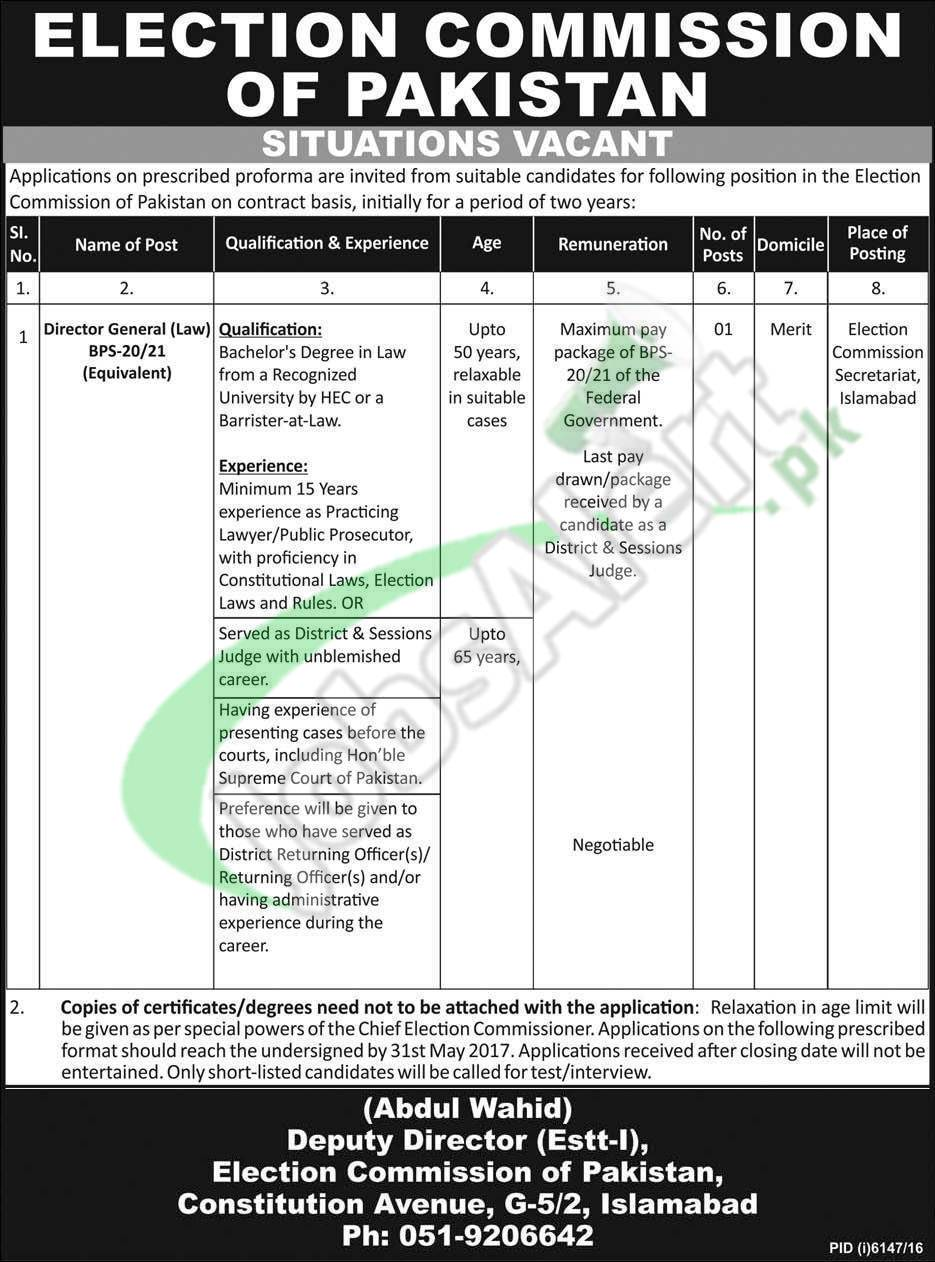 Ecp Jobs May 2017 Application Form For Director General