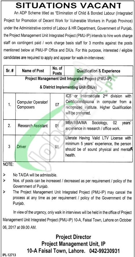 Labour and Human Resource Department Punjab Jobs