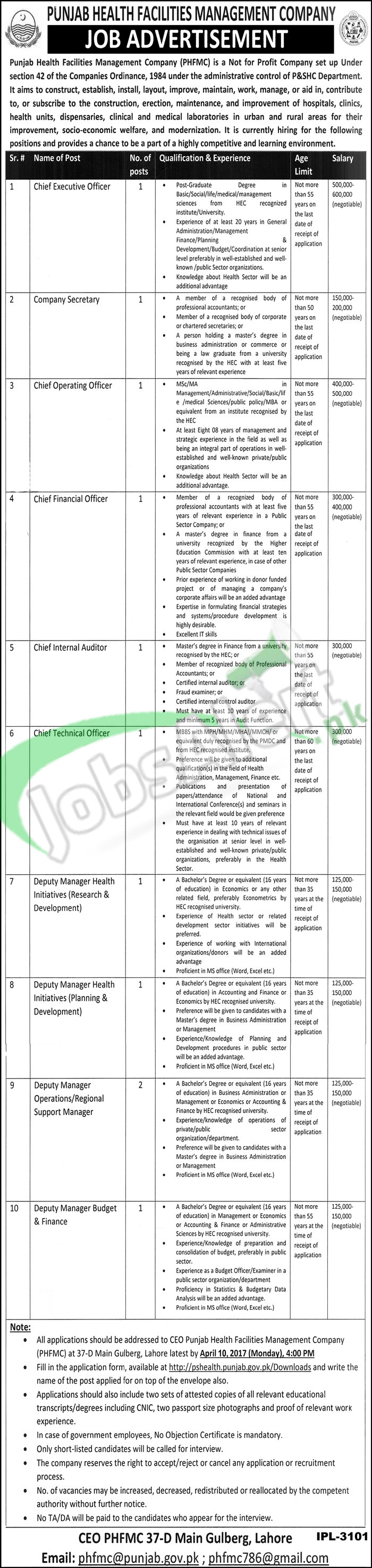 Jobs In Punjab Health Facilities Management Company 2017 Online Form