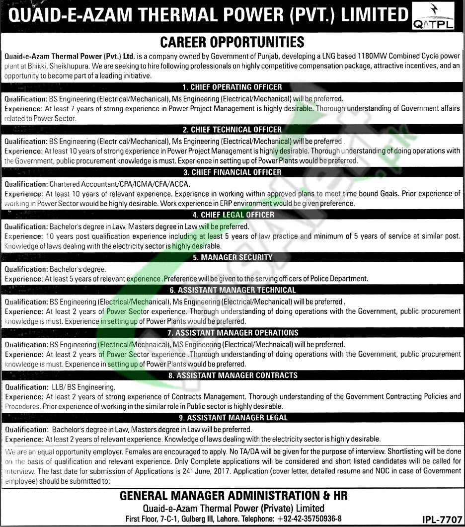 Quaid e Azam Thermal Power Pvt Ltd Jobs