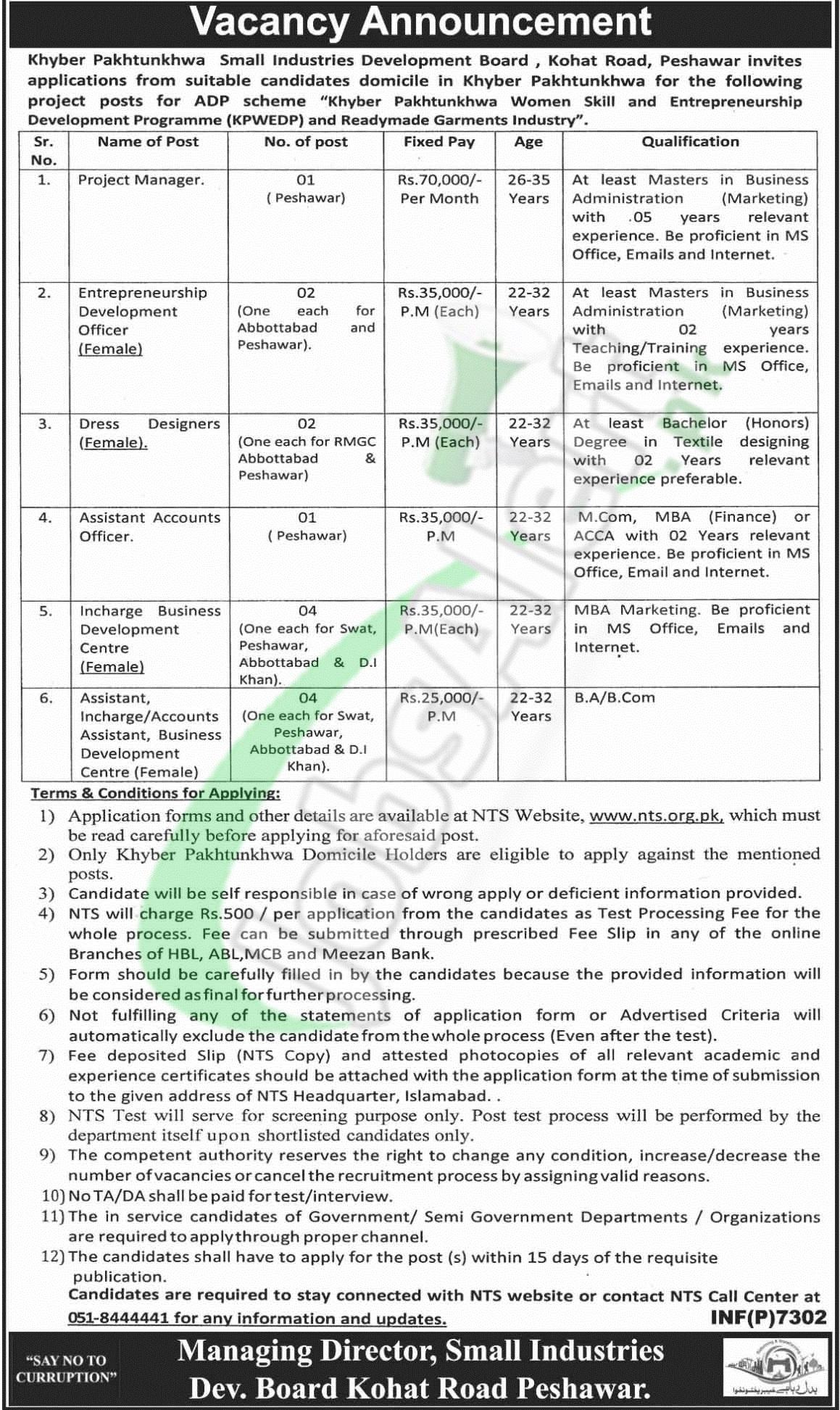 Small industries development board peshawar jobs 2018 nts sidbp jobs falaconquin