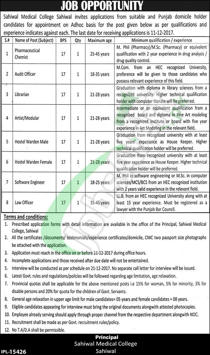 Sahiwal Medical College Jobs