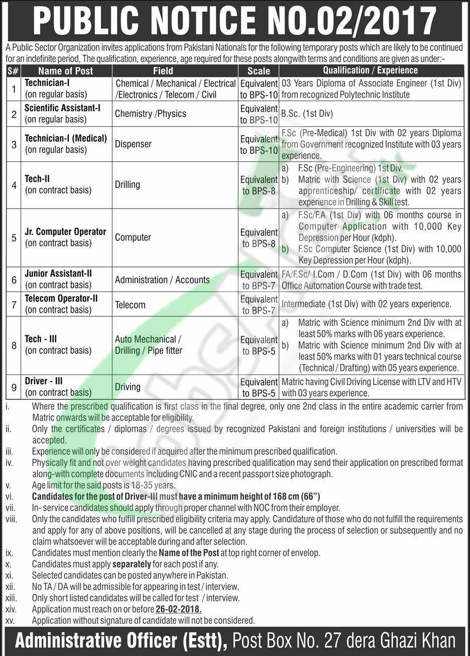 PO Box 27 DG Khan Jobs 2018 Application Form Download Online