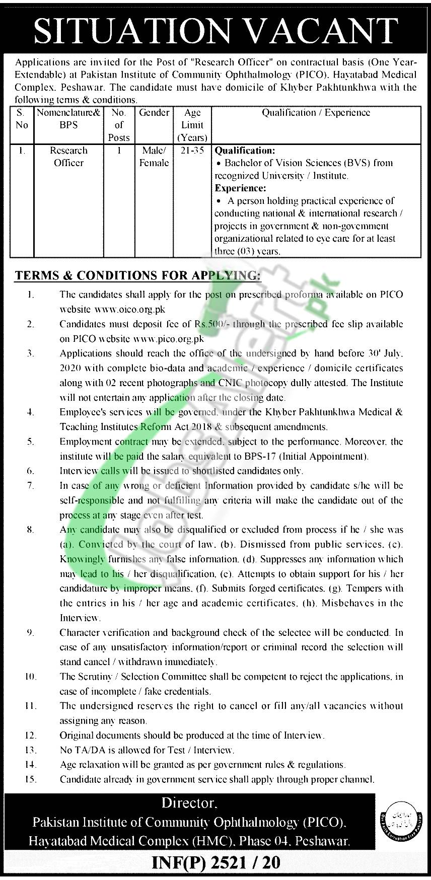 PICO HMC Peshawar Jobs