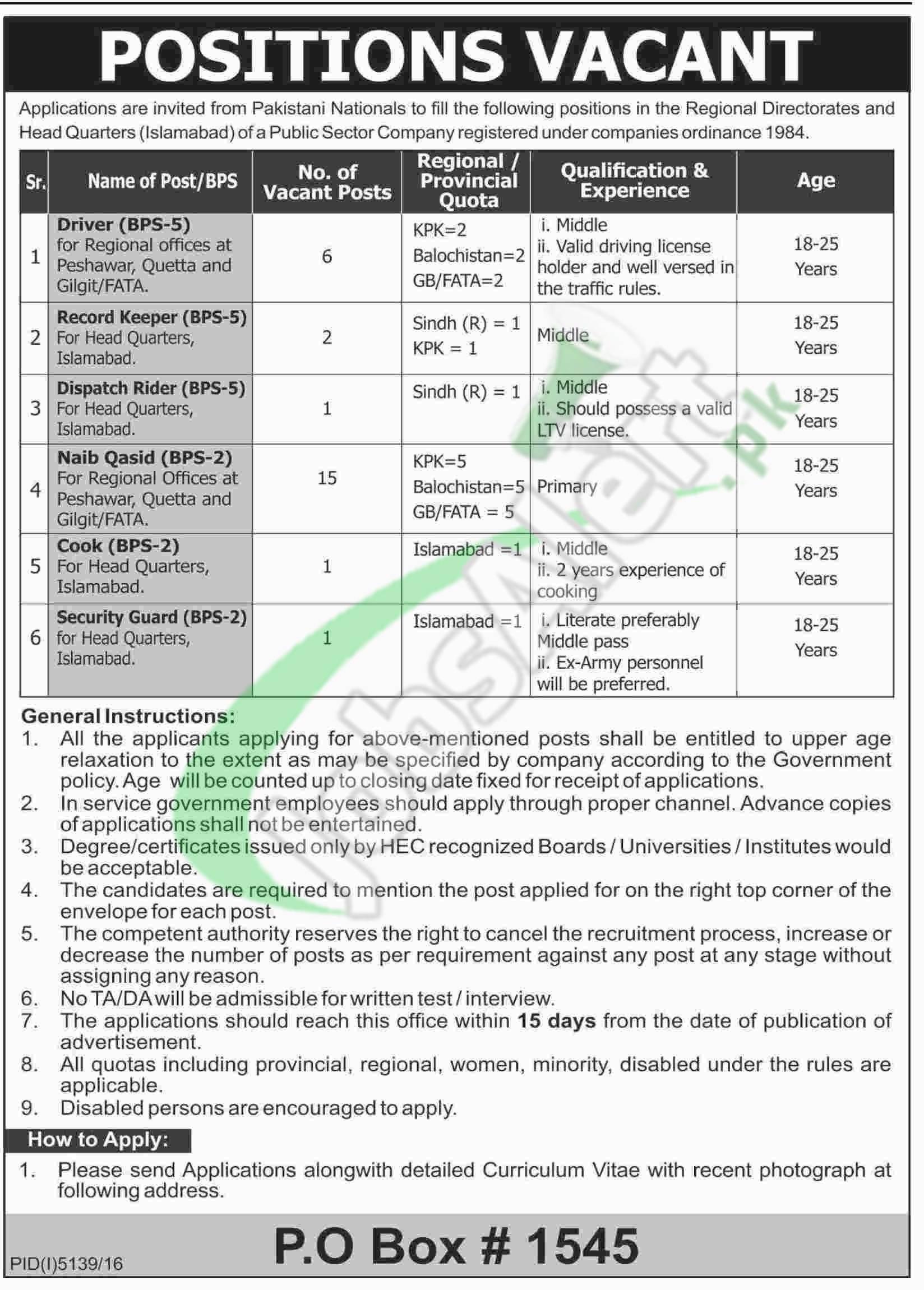 PO Box 1545 Islamabad Jobs