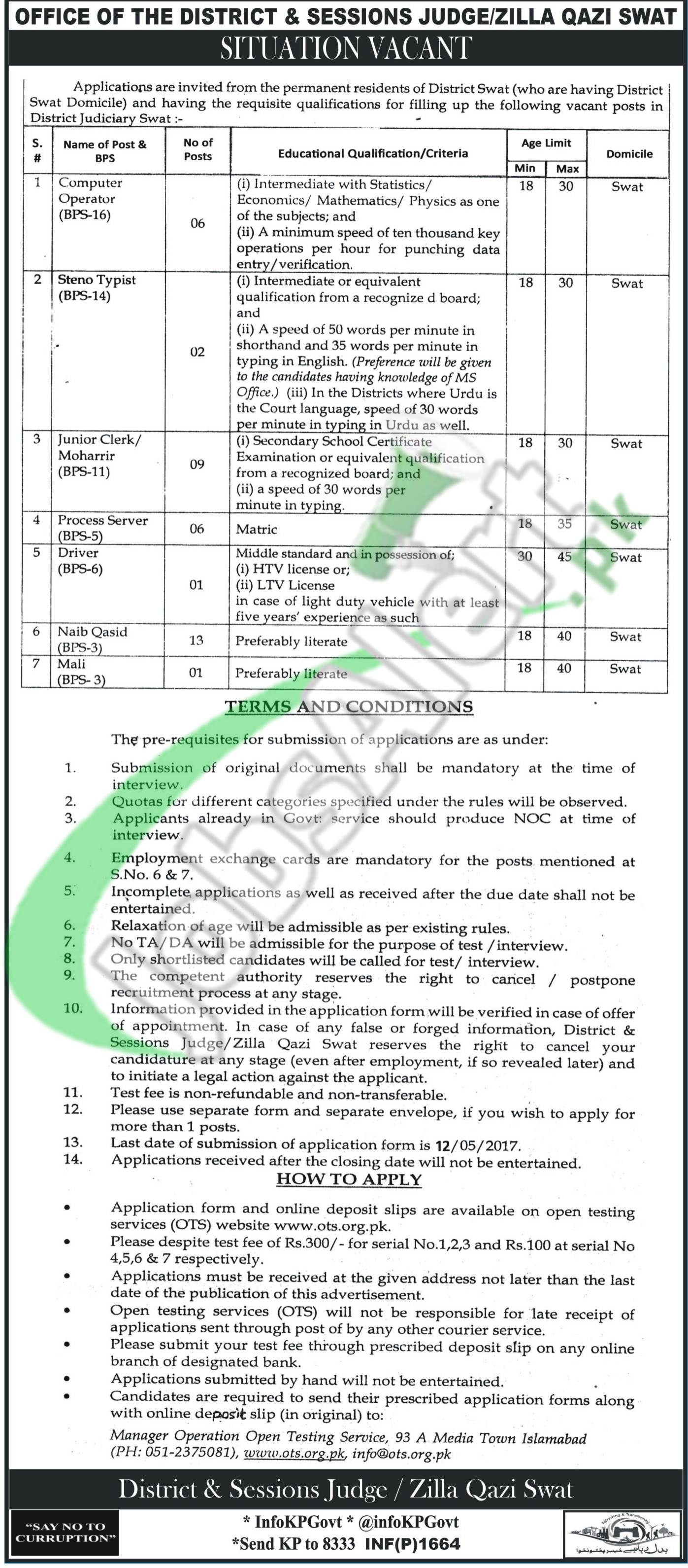 District and Session Court Swat Jobs