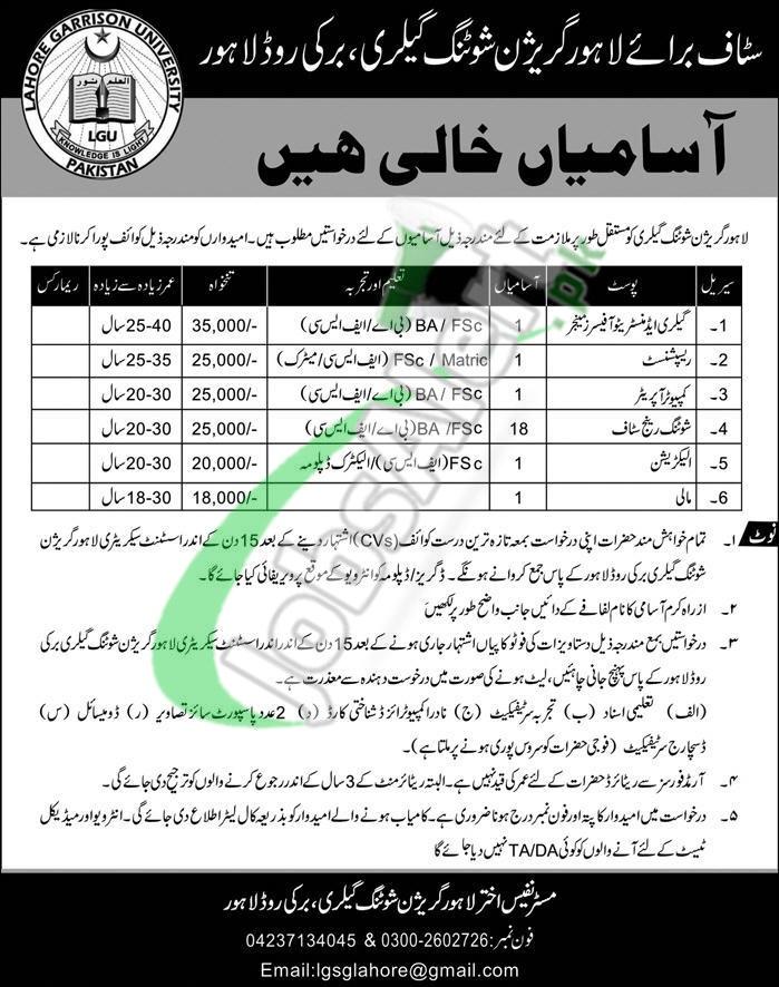 Lahore Garrison Shooting Gallery Jobs 2019