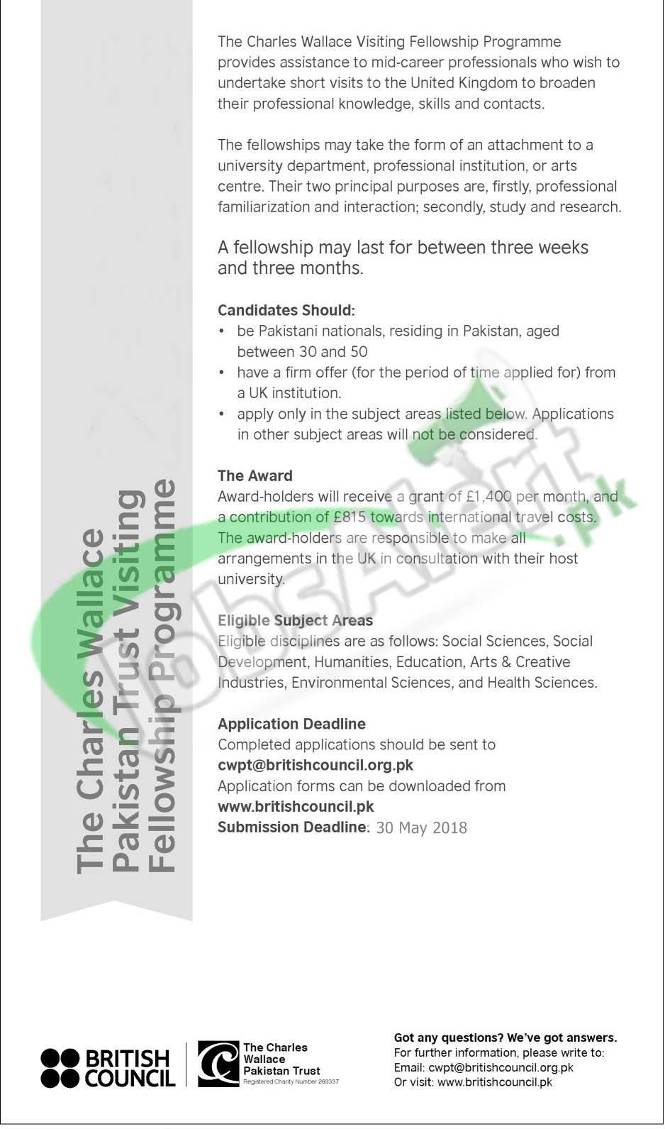 Charles Wallace Pakistan Trust Scholarship 2018