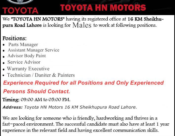 Urgently Required Jobs for Male in Toyota HN Motors Lahore