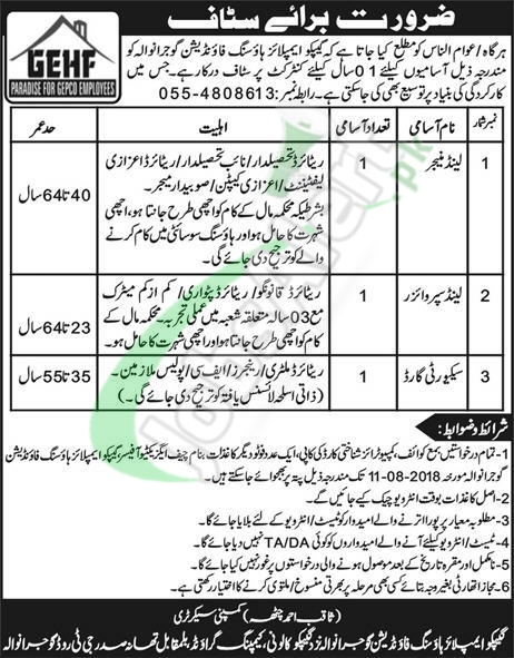 GEPCO Employees Housing Foundation Jobs 2018