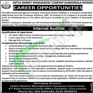 Cattle Market Management Company Gujranwala Jobs