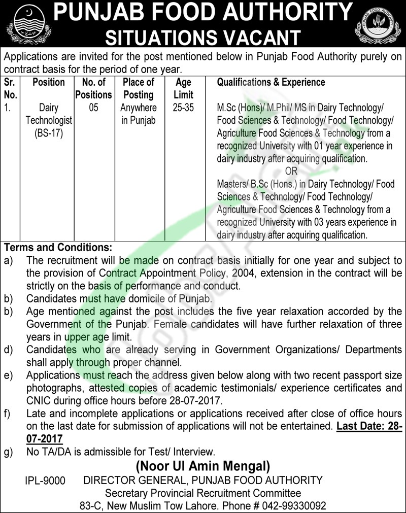 Punjab Food Authorty Jobs