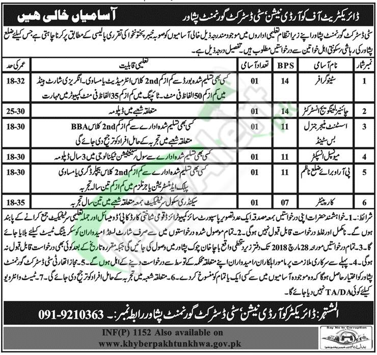 Government Jobs in Peshawar
