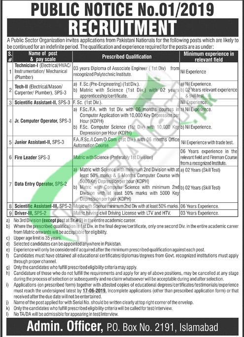 PO Box 2191 Islamabad Jobs