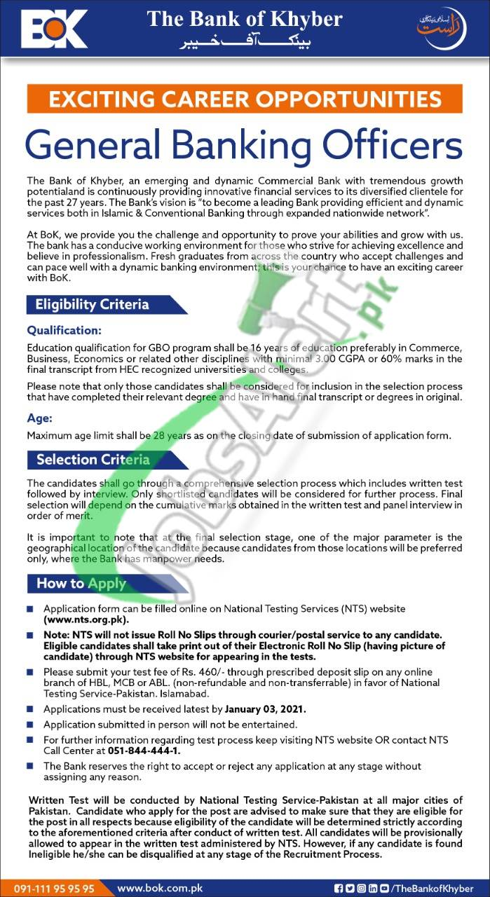 General Banking Officers Jobs in Bank of Khyber 2021