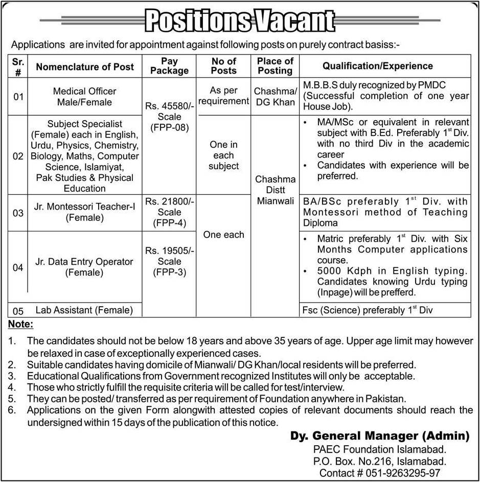 PAEC Foundation Jobs