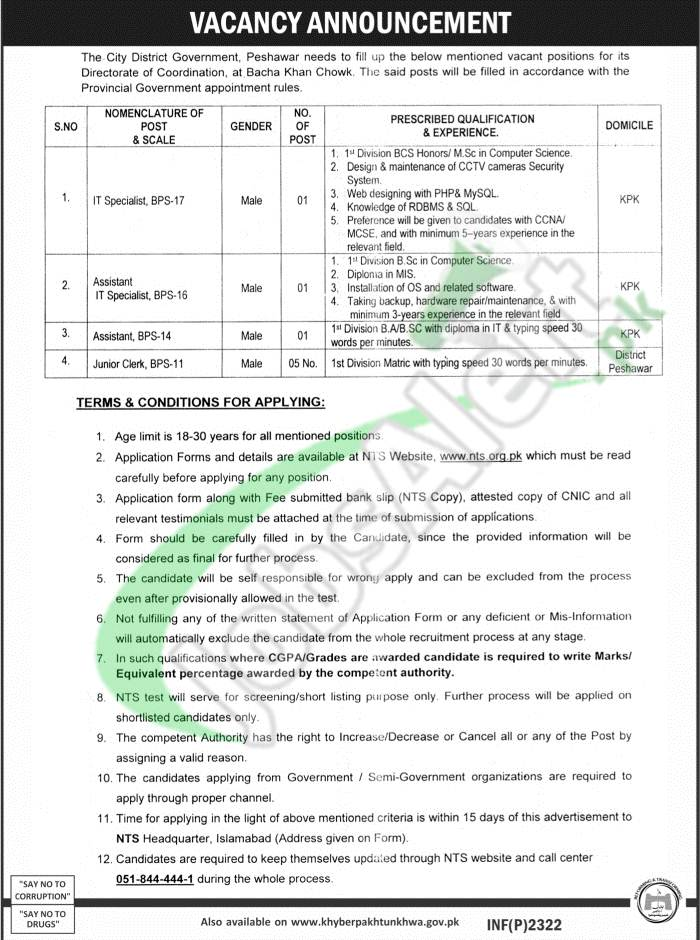 City District Government Peshawar Jobs