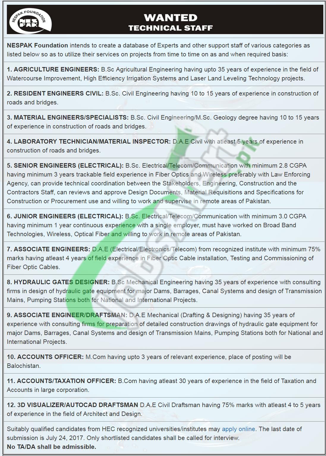 Nespak foundation jobs july 2017 advertisement latest apply online nespak foundation jobs falaconquin