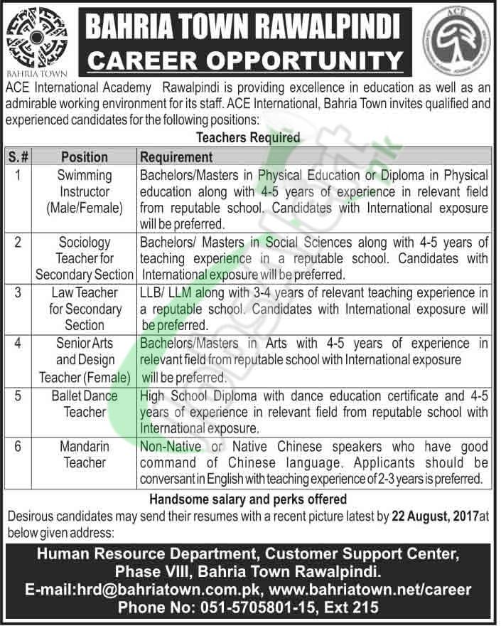 ACE International Academy Bahria Town Rawalpindi Jobs