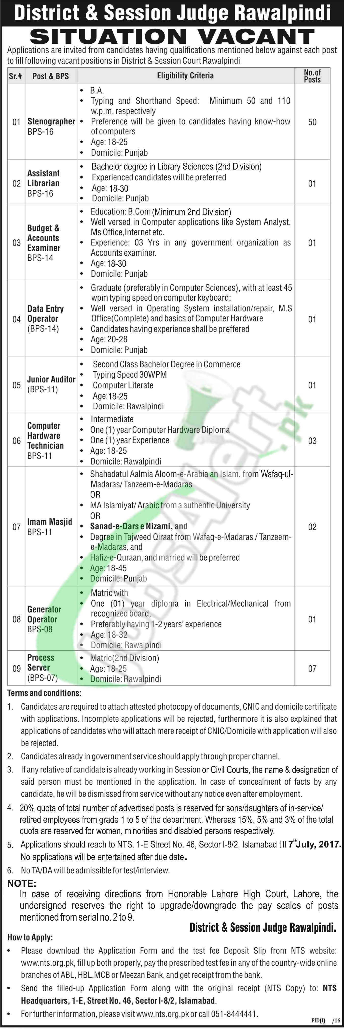 District and Session Court Rawalpindi Jobs