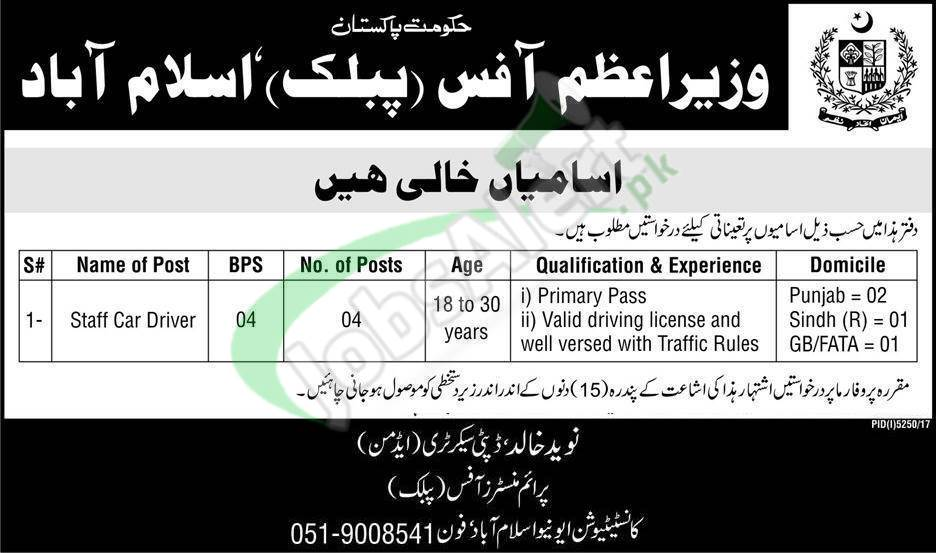 PM Office Jobs 2018