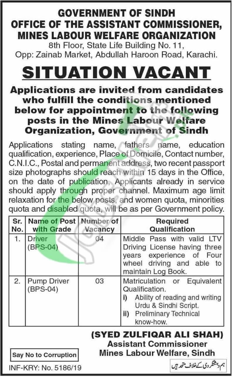 Mines Labour Welfare Organization Sindh Jobs