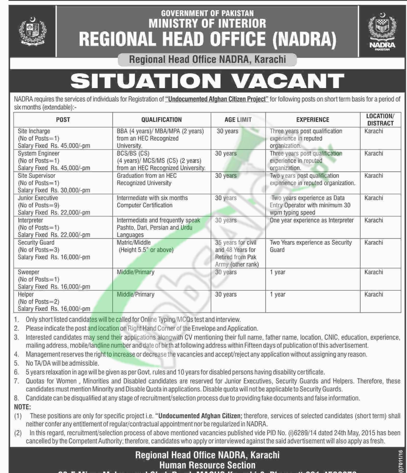 NADRA Karachi Jobs