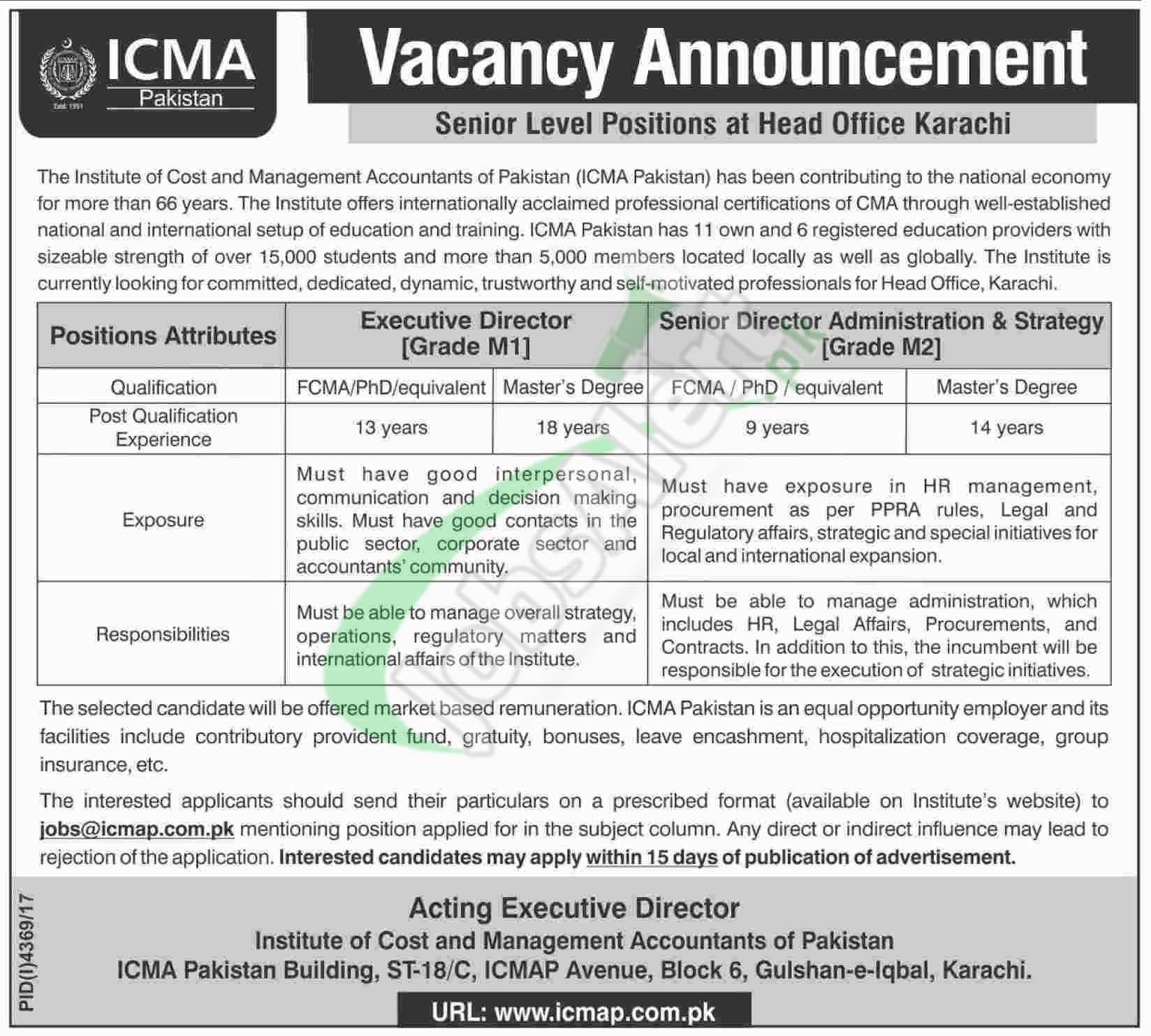 ICMA Pakistan Jobs