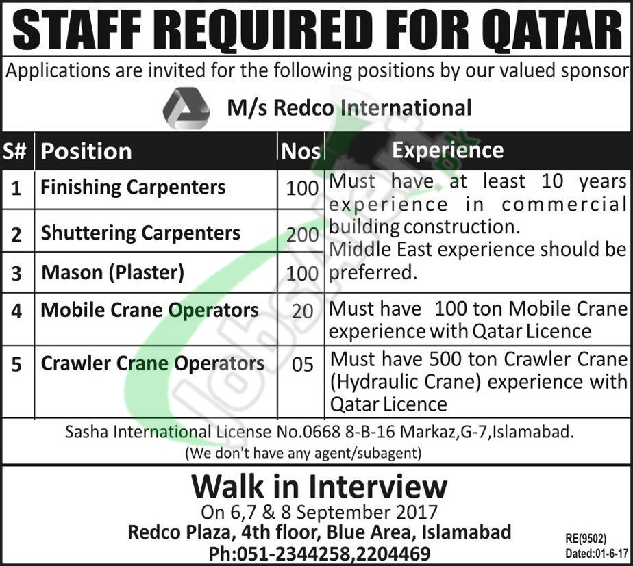 Redco International Qatar Jobs