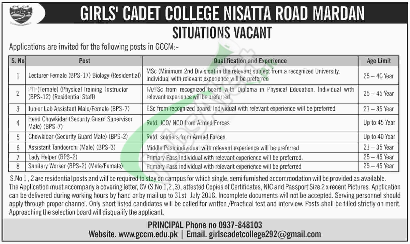Girls Cadet College Mardan Jobs 2018