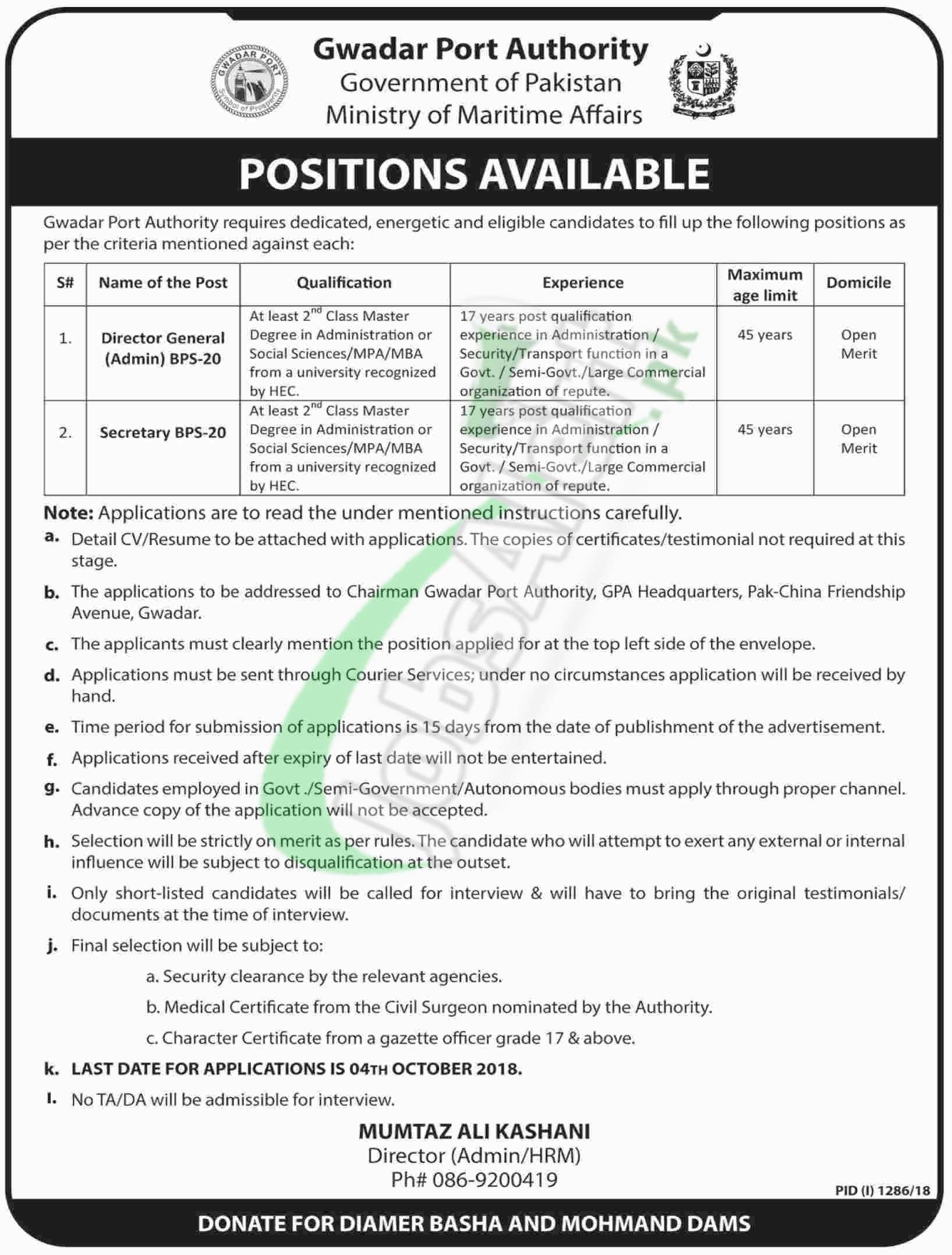 Gwadar Port Authority Jobs