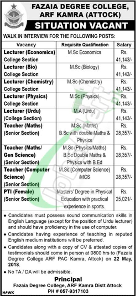 Fazaia Degree College Arf Kamra Jobs