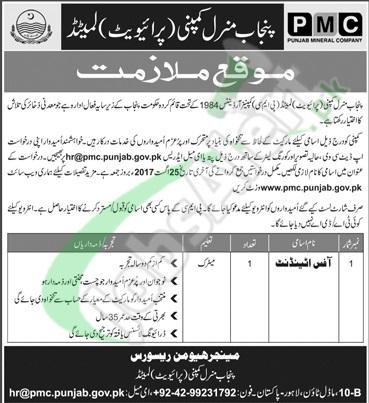 Punjab Mineral Company Jobs