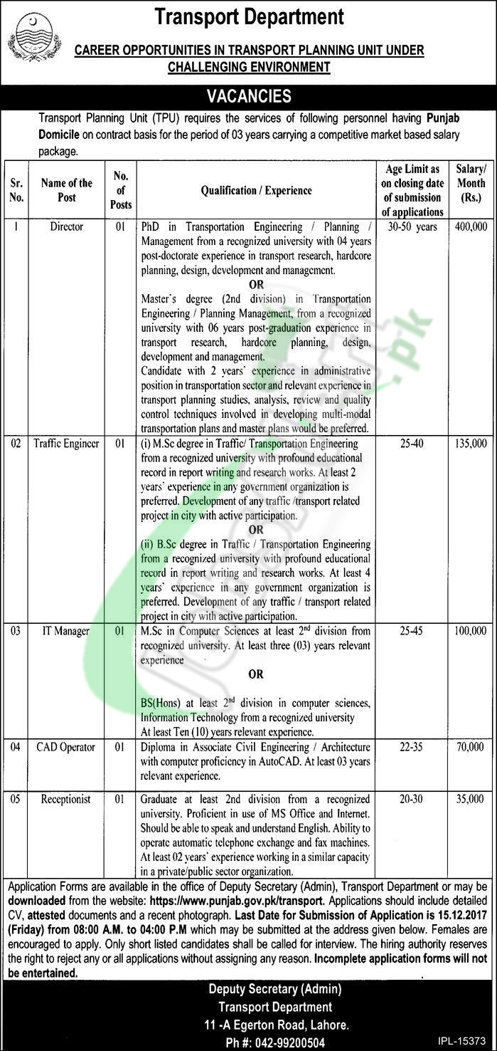 Transport Department Punjab Jobs