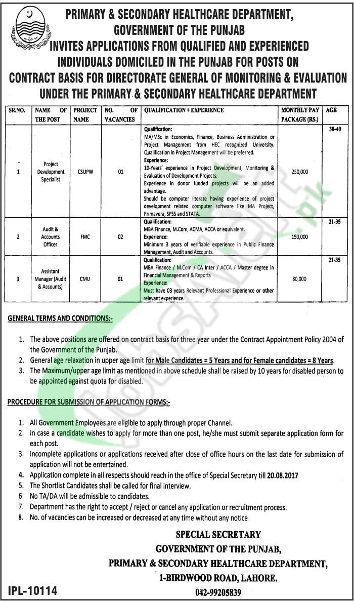 Primary ad Secondary Healthcare Department Jobs