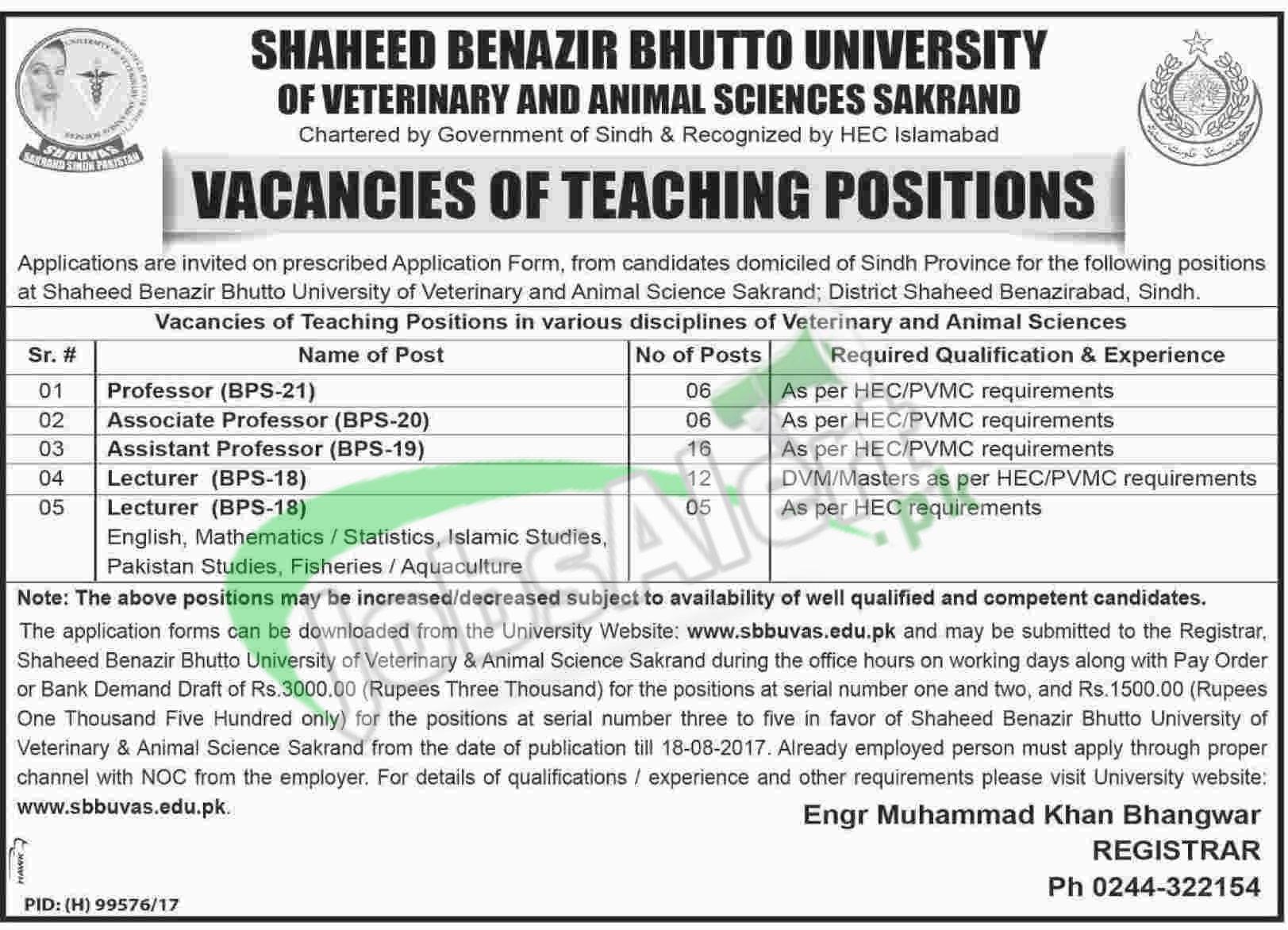 Jobs in Shaheed Benazir Bhutto University of Veterinary & Animal ...