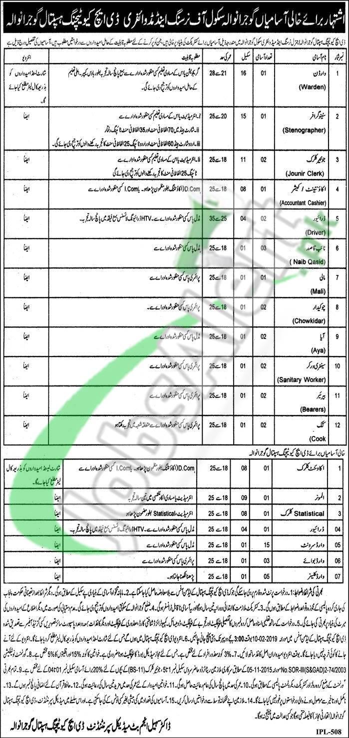DHQ Hospital Gujranwala Jobs